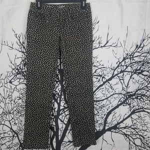 Loft|Modern Straight Black & Tan Polka Dot Pants o
